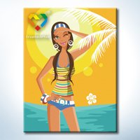 Wholesale Sunshine Baby Wholesale - Sunshine Girl DIY Painting Baby Toys 30x40cm Digital Canvas Oil Painting Kids Drawing Toys Set for Lover Gift with Wooden Frame