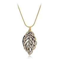 Wholesale 24k Gold Chain Designs - 2016 Newest Gold Design Luxury Jewelry 24K Real Gold Copper Leaf Necklace Czech Crystal Necklaces Leave Neckalce Gifts necklaces & pendants