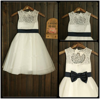 color chart for wedding dress prices - 2017 New Flower Girl Dresses Black Sashes Keyhole Party Communion Princess Pageant Dress Little Girls Kids Children Dress for Wedding