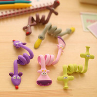 Wholesale Cute Usb Cable - Cute Cartoon Silicone Animal earphone Winder Cable Cord Organizer Holder For iPhone 7,6s,6,5,5s USB cable
