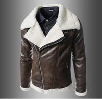 Wholesale Cheap Winter Leather Jackets - Fall-2015 Wholesale Cheap! high Quality Winter Coats & Jackets Men fashion oblique zipper lamb collar PU, mens leather jackets&coats