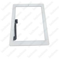 verre ipad2 achat en gros de-200PCS Panneau en verre à écran tactile avec numériseur pour iPad 2 3 4 avec adhésif maison bouton Assemblée noir et blanc
