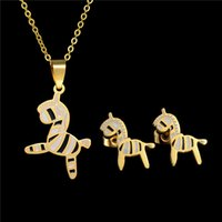 Wholesale Gold Faded Earrings - Never Fade 316L Stainless Steel Kids Jewelry Cartoon Animal Jewelry Set 18k Gold Plated Horse Necklace And Earring Sets Factory Direct