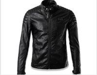 Wholesale Stand For Jackets - new arrived winter autumn fashion mens Designer Brand black leather Rivet jacket slim fit jackets for mens motorcycle clothes