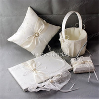 Wholesale Books Ivory - High Quality Wedding Supplies Ivory Satin Bridal Favors Set Ring Pillow Flower Girl Basket Guest Book Sign Pen Container Garter Real Photo