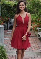Wholesale Hottest Plus Size Models - Simple Hot Red Homecoming Dresses 2017 Chiffon with Straps Cocktail Dresses Above Knee Length Party Gowns