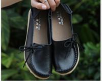 ingrosso scarpe in pelle flessibile-Plus Size 34-44 2016 Ballet Women Genuine Leather Shoes Donna piatto flessibile punta rotonda infermiera moda casual Fannullone