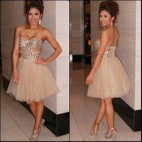 Wholesale Cut Out Homecoming Dresses - Shiny 2017 Champagne Sweetheart Strapless Cut Out Waist Tulle Short Homecoming Dress With Crystal Beaded Bodice