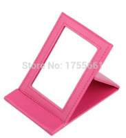 Wholesale Mirror Compact Hearts - Rectangle cute Makeup Mirror Folding Portable Compact Pocket Cosmetic Mirror for girl women 2 color choice free shipping