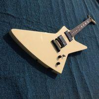 rocking electric guitar großhandel-ESPM James Rare Explorer Vintage Weiß Creme Metallic E-gitarre EMG Tonabnehmer Spezielle Rock N Roll Griffbrett Inlay