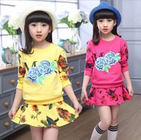Wholesale Sets Girl S Pink Flower - Kids Clothes Suit Girl Fashion Flower Set Top+Pants 2pcs set Kids Floral Clothing 100% Cotton 5 S l