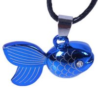 Wholesale Lucky Fish Pendant - 2 sides same Cubic Lucky Blue Fish NECKLACE Titanium Steel Unisex Necklaces pendant jewelry Exclusive collar fashion jewelry Necklaces