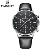 Wholesale Moon Phases - Luxury brand new TWINCITY men's quartz watch chronograph wristwatch automatic date sports leisure watches moon phase fashion leather strap