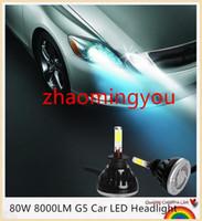 Wholesale Car Led Light Bulb Set - 2 Pcs Set 24W 40W 2400-4000LM G5 Car LED Headlight H1 H3 H7 H8 H9 H11 6000K 360 Degree COB LED Headlamp Light Bulbs Kit