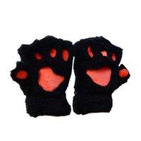 ingrosso guanti giapponesi-Kukucos giapponese Soft Bear Paw Cartoon Guanti Addensare Mezza Finger Mittens Studente Dew Finger Plush Gloves