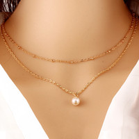 Wholesale Pearl Choker Necklace Row - 18K Yellow Gold Plated Plain Double Rows Pearl Charms Chain Choker Necklace Fashion Womens Jewelry for Party Best Gift