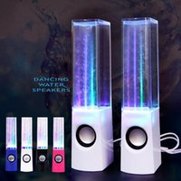 Wholesale Iphone Water Fountain Speakers - Fashion Night Club LED Music Fountain Dancing Water Stereo Speakers portable bluetooth speakers for iPhone 7  7Plus Samsung all smartphones