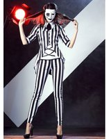 Wholesale Sexy Movies Free - Free shipping Sexy helloween Costumes for women Graveyard Ghost Costume black and white striped suit halloween catsuit