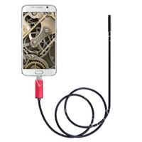 Wholesale Endoscope Camera Led Light - Free Shipping 2 In 1 7mm 6-LED Android PC Endoscope Dual USB IP67 Waterproof Endoscope Adjustable LED Light Camera Borescope-red