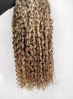 çince insan saç örgüsü toptan satış-Çin insan bakire kıvırcık saç örgüleri kraliçe saç ürünleri Kahverengi / sarışın 100g 1bundle tam kafa için 3 demetleri