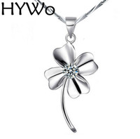 Wholesale Lucky Clover Diamond - HYWo Chainless bijoux new happy Lucky Clover Switzerland zircon 925 sterling silver pendants With White   Purple Diamond Factory direct