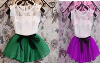 Wholesale Girl Lace T Shirts - Fashion children girl Pleated Skirts + Tops Tees kids 2 piece Clothing Sets party outfit suit lace T shirt short dress 2Y-7Y colorful gift