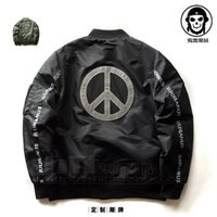 Wholesale Green Peace - Pilot Jacket Mens 3M Reflective Jackets 2016 New Arrival Military Style Peace Sign Tactical Coat Free Shipping