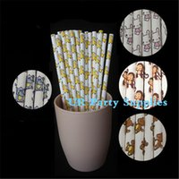 Wholesale Straw Animals Designs - New Design!! 10000pcs Paper Straw Mix Cartoon Animal Print Monkey Elephant Rabbit Bear Horse Paper Straws Party Supplies