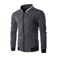 Wholesale Diamond Lattice Jacket - Wholesale- new casual fashion men diamond lattice collision color collar Baseball jacket zipper Slim solid color cotton coats bomber jacket