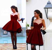 Wholesale Elegant Mini Formal Dresses - 2016 Wine Red Fashion Prom Dresses Hot Sale Sweetheart Elegant Velvet Ruffle Skirts Formal Homecoming Gowns
