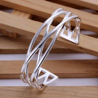 Wholesale Wholesale Small Silver Crosses - Wholesale 925 jewelry silver plated bangle bracelet, 925 jewelry silver plated fashion jewelry, Small Cross Bangle B045
