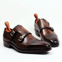Wholesale Double Monk Strap - Men Dress shoes Monk shoes Custom handmade shoes Genuine calf Leather Color dark Brown strap double buckles HD-250