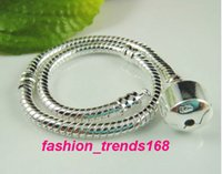 Wholesale Stamped Snake Chain Bracelet - 16-20cm European Charms Snake Chain Silver Plated Bracelet Fit Pandora 925 Stamped Bracelets Wholesale Fit For European Beads Charms Dangles