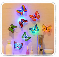 Wholesale Novelty Butterfly Night Lights - Seven Colors Changeable Led Flashing Night Lights Lamp Butterfly Toys Pasted On the Wall for New Year's Christmas Birthday Novelty Gifts