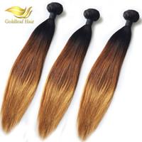 düz saça düz 1b 27 toptan satış-10-26 inç Brezilyalı İnsan Ombr saç 1B 4 27 Düz 3 Adet Ombre İnsan Saç Dokuma Ombre Saç Uzantıları