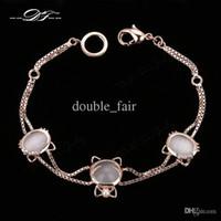Wholesale Item Stone - Cat's Eye Stone Charm Bracelets & Bangles Wholesale 18K Gold Plated Fashion Jewelry Trinket For Women Gift Items Imitation Gemstone DFH093