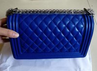 Wholesale Shoulders Handbags Blue Colour - Hot sale Classic sheepskin leather chain shoulder bag High Quality Fashion blue colour Diamond Lattice women bag famous brand handbags