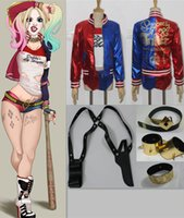 Wholesale Wholesale Faux Leather Clothing - 2016 New DC Comic Suicide Squad Harley Quinn Cosplay Costume Whole set Female clown clothing Holloween Masquerade party props EMS