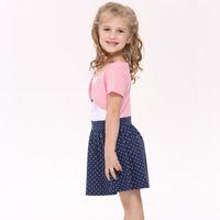 Wholesale Girls Dress Polka Dot Sleeve - Summer Girl Dress Kids Cartoon Pattern Princess Dress Short Sleeve Polka-dot Dress Good Quality 5 p l