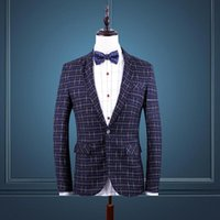 Wholesale Cheap Branded Jackets For Men - Wholesale-Brand Clothing 2016 New Party Suits For Men Blazer Masculino Cheap Mens Blazers Suit Jacket 5XL 6XL Check Dress Fromal Suit