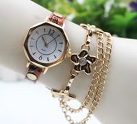 Wholesale Vintage Diamond Watches - New women ladies flower bracelets watch leather quartz dress watches fashion chain diamond crystal wristwatch vintage watches for women