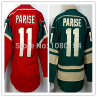 Wholesale Ladies Cotton Shirts Cheap - Zach Parise Women Jersey Girls Minnesota #11 Color Green Red Shirts Best Gift For Wife All Stitched Parise Ladies Jerseys Cheap