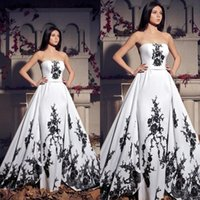 Wholesale long strapless dresses china resale online - Vintage Black And White Wedding Dresses New Strapless Lace Applique Lace Up Back Long Bridal Gowns Custom Made China EN10256