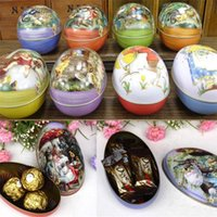 Wholesale Egg Easter Box - Brand new 8pcs different design 6.3x4.4x5cm Fashion Wedding Supplies Candy Packaging Candy Box Tin trumpet Easter Day EggS
