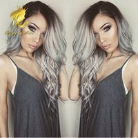 Wholesale French Human Body - Fast shiping Brazilian Human Ombre Human Lace Front Wig Black Grey Lace Front Wig Two Tone Gray Human Hair Wigs Full Lace Wig