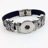 Wholesale One Direction Leather Bracelets - Fashion Real Sterling Jewelry Bracelets For One Direction Butterfly Retro Leather Snap Button Bracelet Bt101 ( Fit 18mm 20mm Snaps) party dr