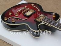 guitarras elétricas corpo mogno venda por atacado-Atacado vermelho JAZZ Semi Oco mogno guitarra elétrica corpo frete grátis