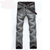 ingrosso nuovo arrivo del pantalone jeans-I nuovi jeans degli uomini di modo di arrivo dimagriscono i pantaloni diritti lavati all'acqua all'ingrosso grigio chiaro