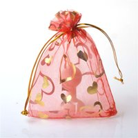 Wholesale Small Package Wholesale - Heart Small Sheer Organza Drawstring Jewelry Pouches Party Wedding Favor Packaging Candy Wrap Square Gift Bag 7X9cm 1000pcs lot Mix Color