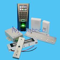 Wholesale Magnetic Lock Systems - Wholesale- DIY Full Fingerprint Door Access Control System Kit Fingerprint Access Controller +180KG Magnetic Lock + ZL Bracket Wood Door
